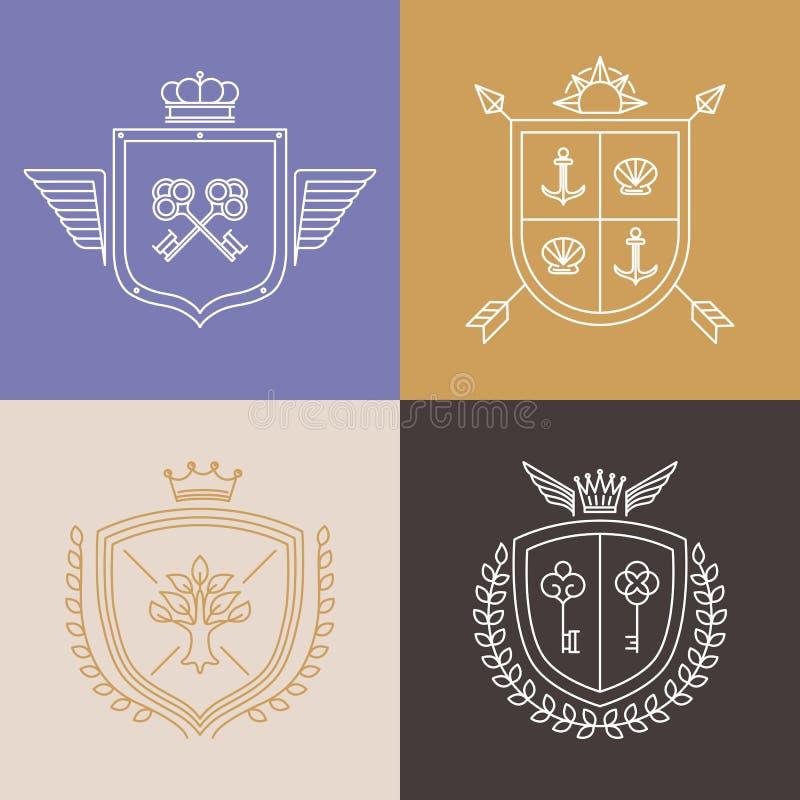 Wektorowi liniowi heraldyka symbole i projektów elementy royalty ilustracja