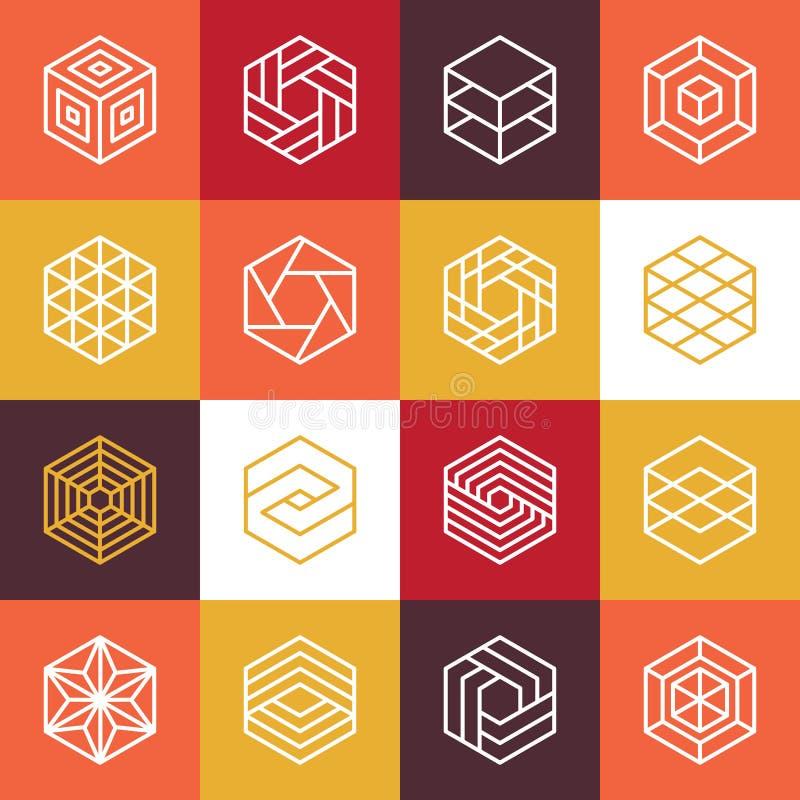 Wektorowi liniowi sześciokątów logowie i projektów elementy ilustracja wektor