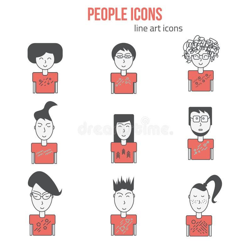 Wektorowi ludzie ikon ustawiać w liniowym stylu Nowożytni ludzie ikon avatars Modniś ikon ludzie Może używać dla sztandarów i royalty ilustracja