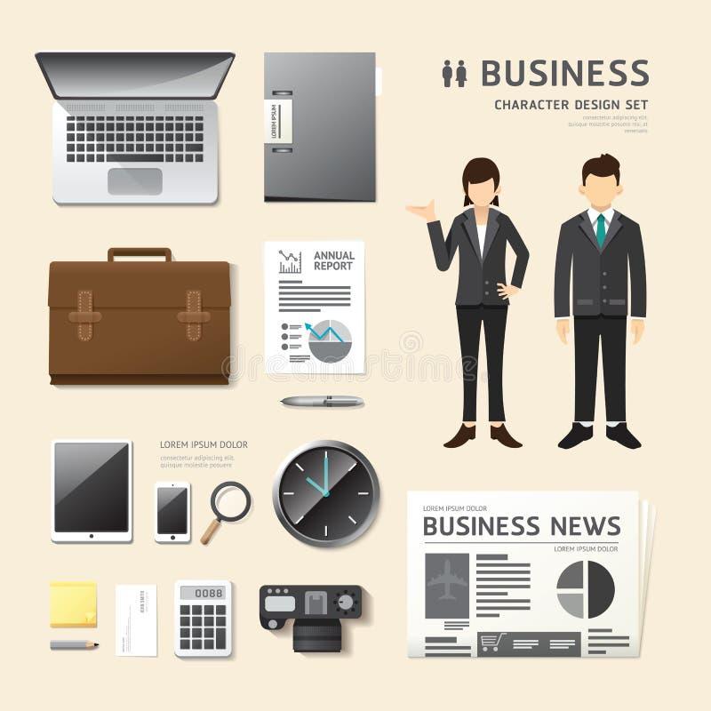 Wektorowi ludzie ustawiają biznesowego akcydensowego charakter ikon mieszkania styl z royalty ilustracja