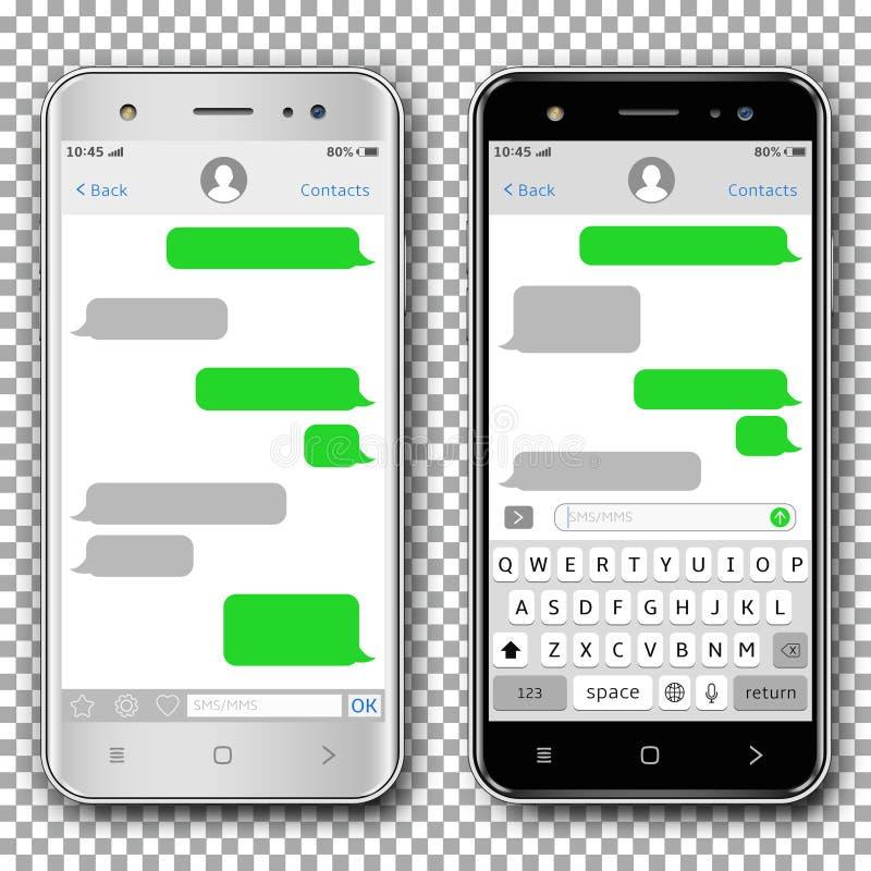 Wektorowi mądrze telefony z przesyłanich wiadomości sms app szablonem, odizolowywającym na przejrzystym tle ilustracji