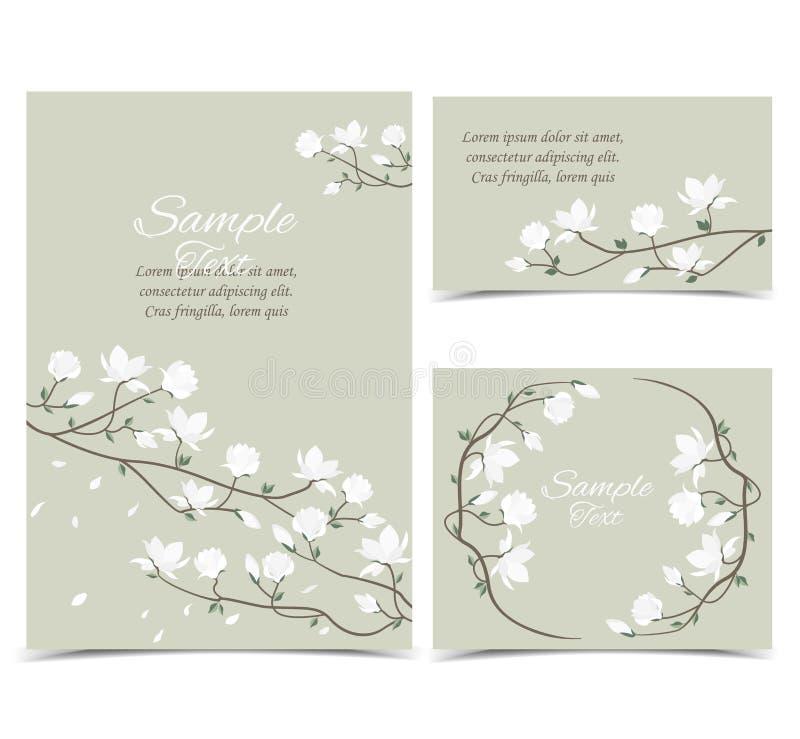 Wektorowi magnolia kwiaty royalty ilustracja