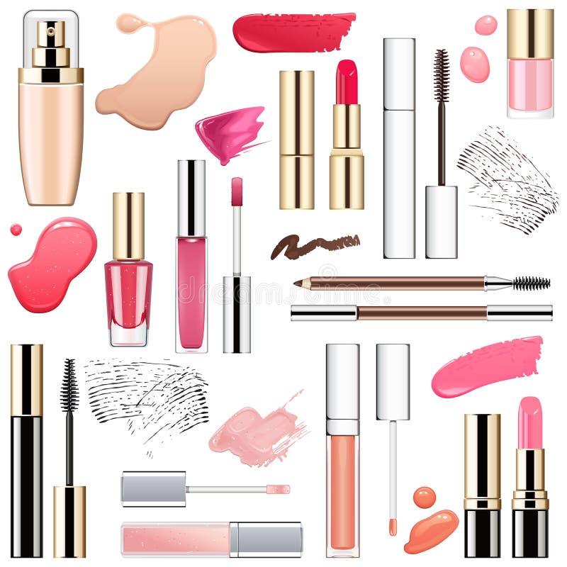 Wektorowi Makeup kosmetyki z rozmazami ilustracja wektor