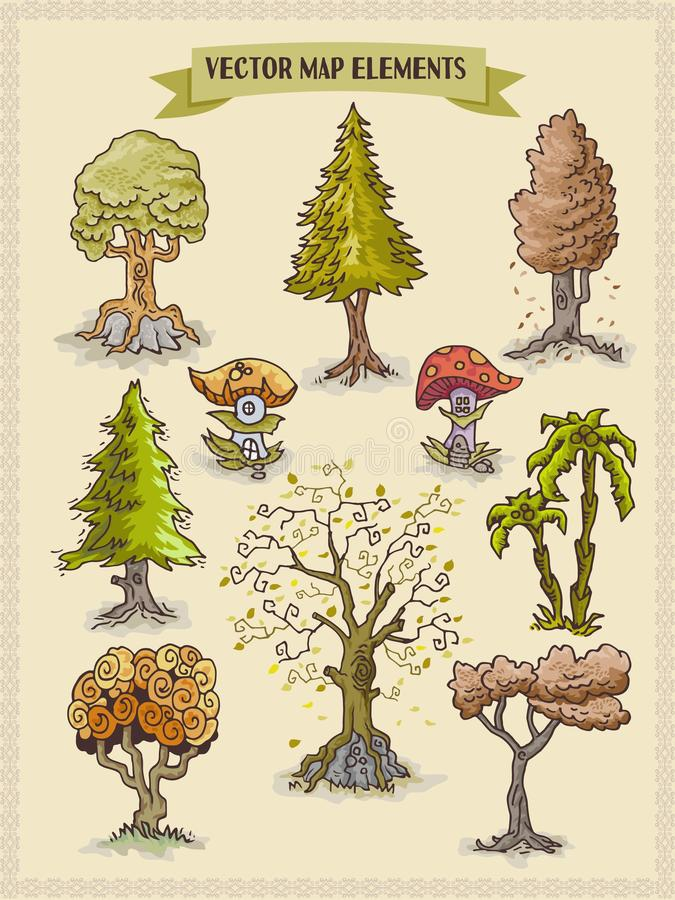 Wektorowi mapa elementy, kolorowi, ręka remis - drzewa i roślinność projekt zaopatrują elementy ilustracja wektor