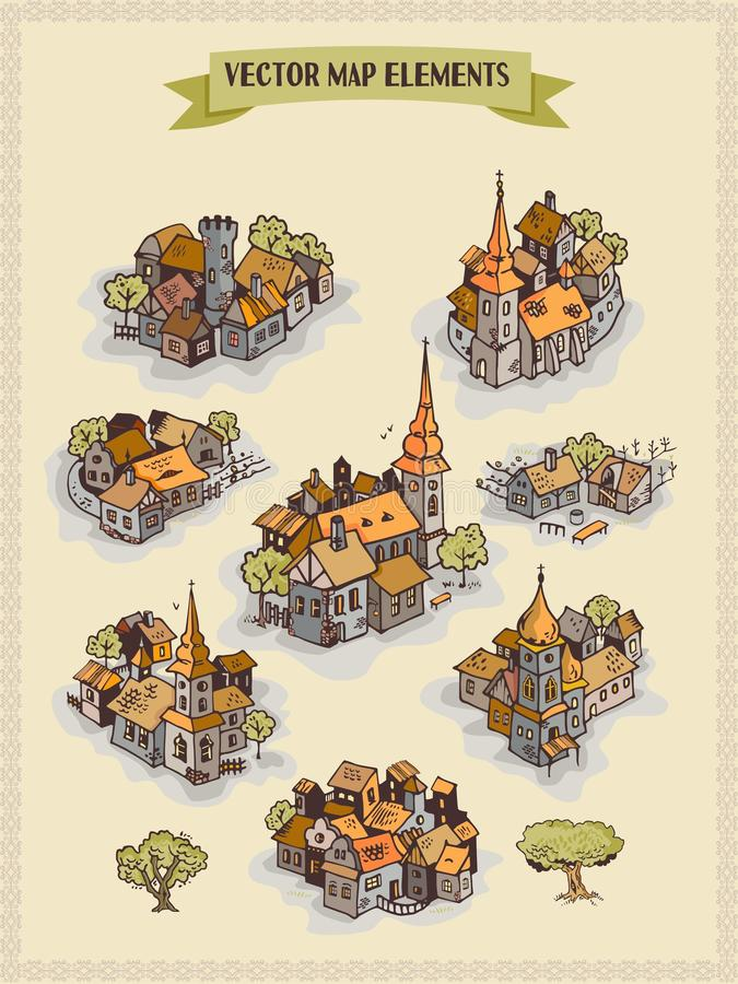 Wektorowi mapa elementy, kolorowi, ręka remis - ugoda, miasto, wioska royalty ilustracja
