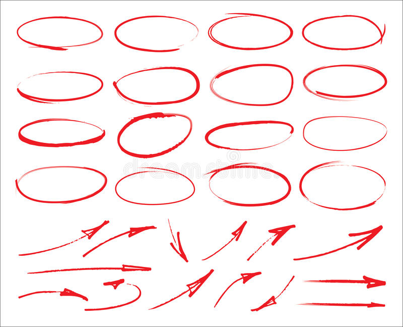 Wektorowi markierów okręgi, strzała i ilustracji