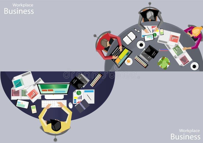 Wektorowi miejsc pracy ludzie biznesu przeglądają use nowożytne technologie komunikacyjne, notatniki, pastylki, telefony komórkow royalty ilustracja
