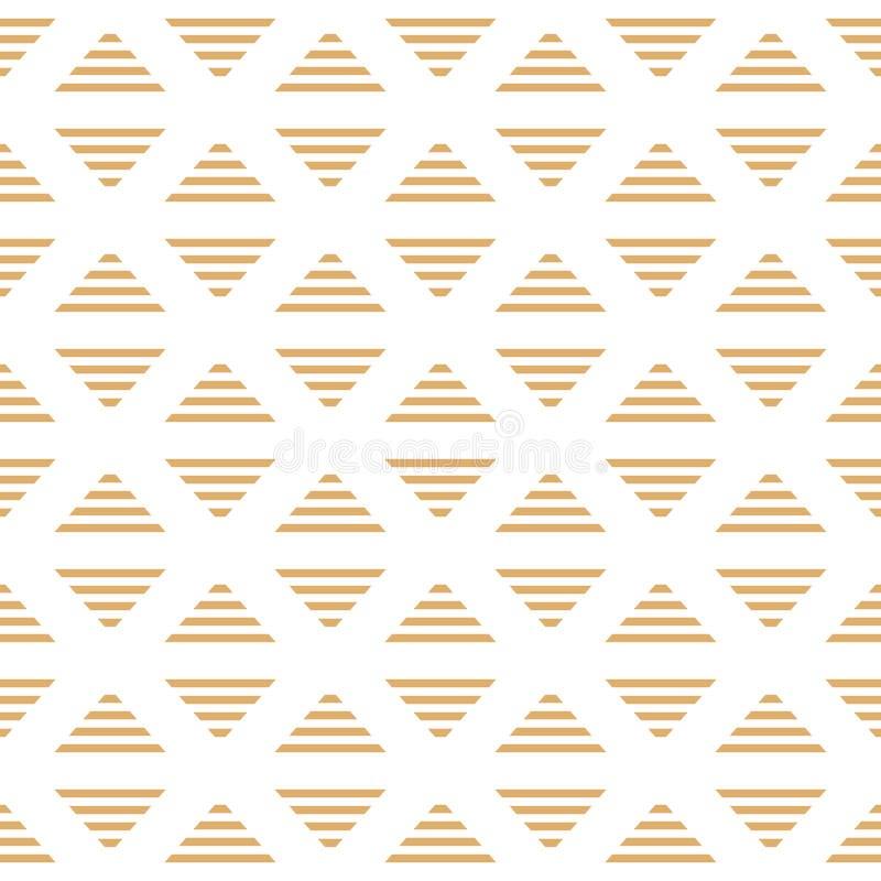Wektorowi minimalistic Pasiaści złoci trójboki rhombus Bezszwowy wzór ilustracja wektor