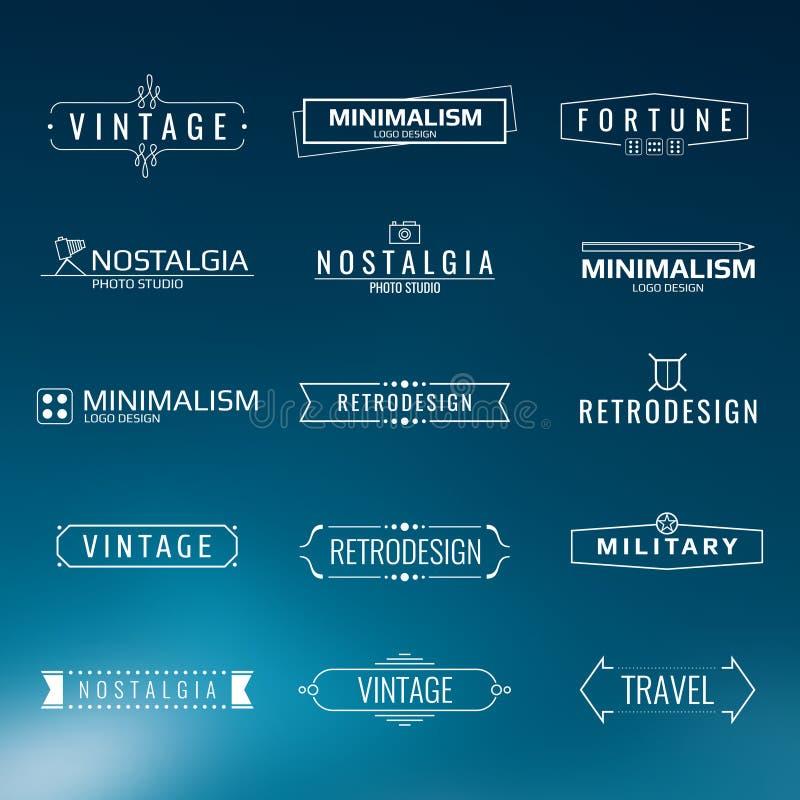 Wektorowi minimalni rocznika loga szablony Retro styl etykietek projekt ilustracji
