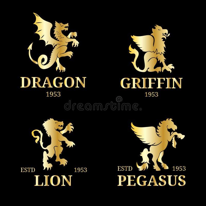 Wektorowi monogramów szablony Luksusowy Pegasus, lwa etc projekt, Pełen wdzięku zwierzę sylwetki ilustracyjne ilustracja wektor