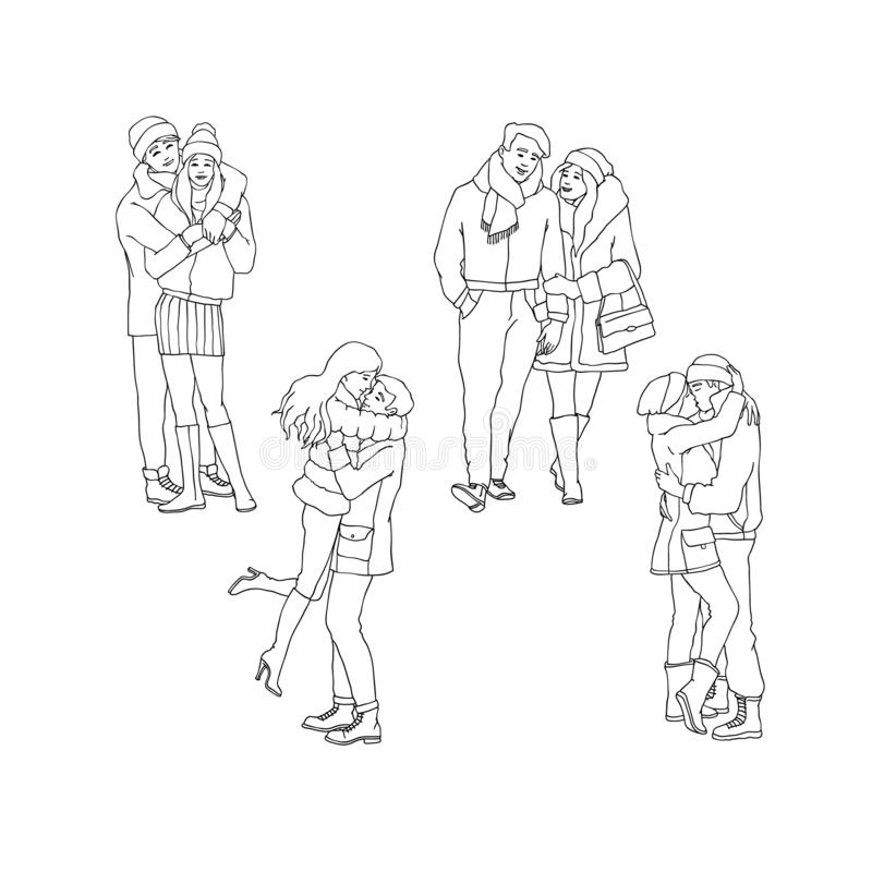 Wektorowi nakreślenie kochankowie ściska całowanie przy zima setem royalty ilustracja