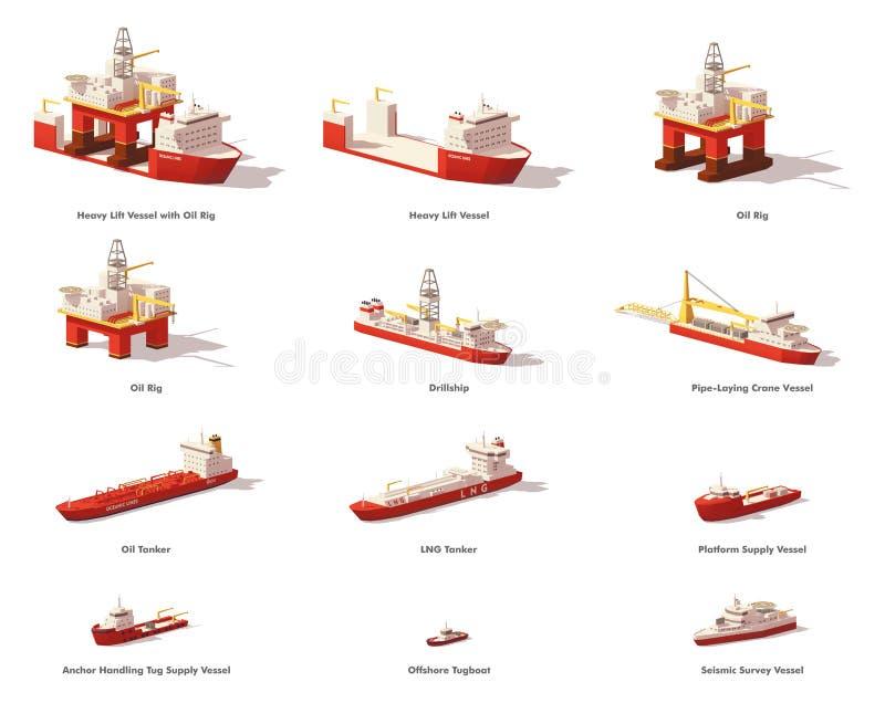 Wektorowi niscy poli- na morzu eksploracja złóż ropy naftowej naczynia royalty ilustracja
