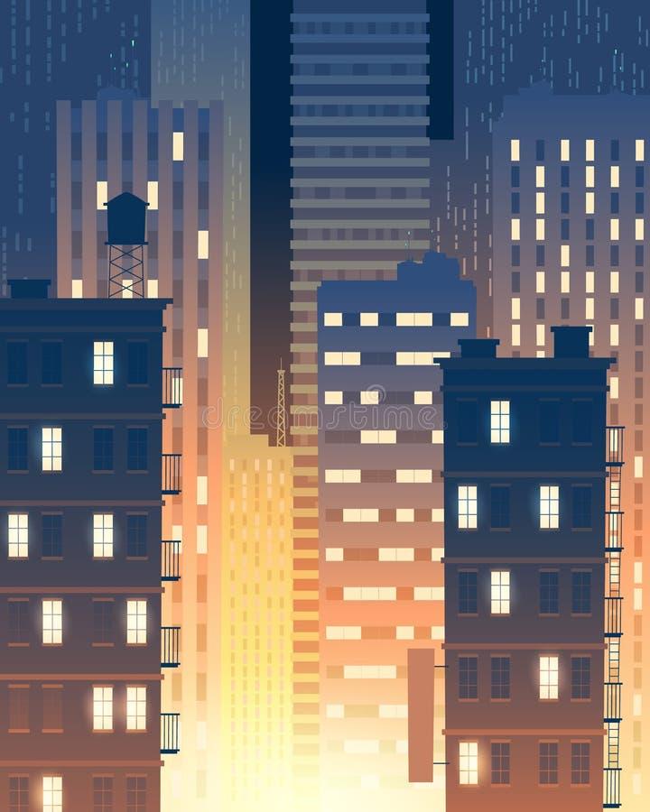 Wektorowi nowożytni budynki przy nocą, miastowy tło ilustracja wektor