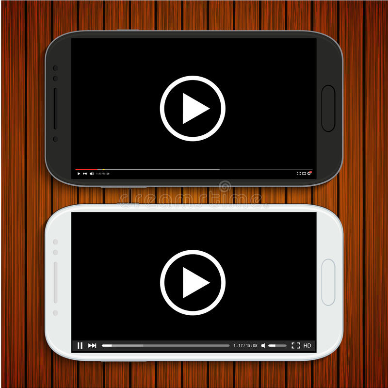 Wektorowi nowożytni czarny i biały smartphones ilustracja wektor