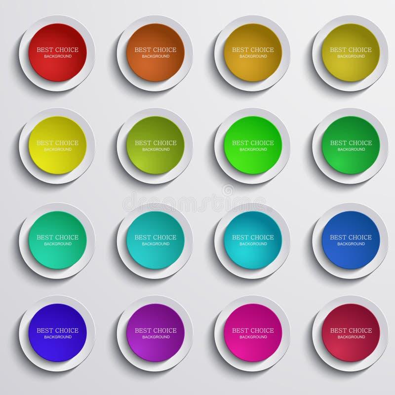 Wektorowi nowożytni kolorowi okregów sztandary ustawiający na szarość ilustracja wektor