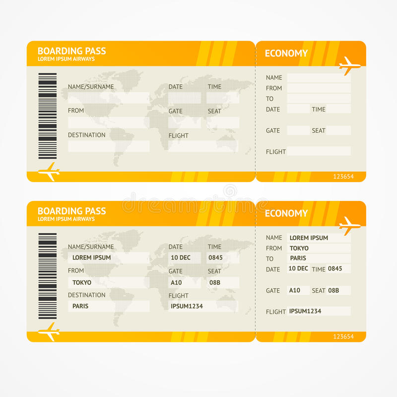 Wektorowi Nowożytni linia lotnicza abordażu przepustki bilety royalty ilustracja