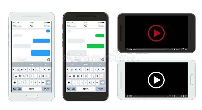 Wektorowi nowożytni smartphones ustawiają odosobnionego na białym tle Wiadomość tekstowa i odtwarzacz wideo ilustracji