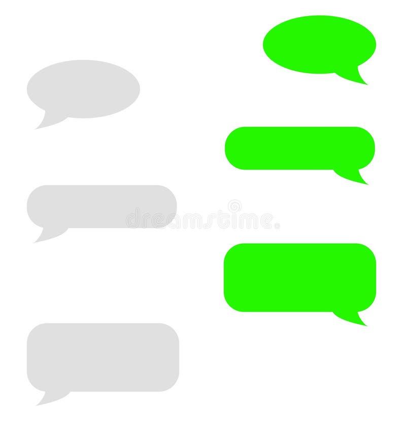 Wektorowi nowożytni sms lub wiadomości ikony Bąbel mowy set royalty ilustracja