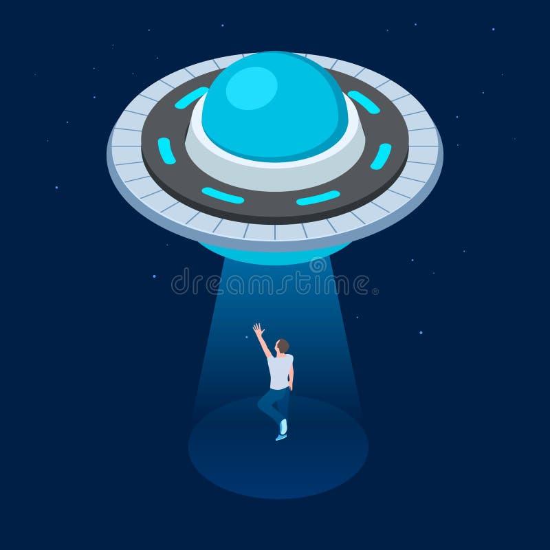 Wektorowi obcy uprowdzają mężczyzny UFO latającego statku kosmicznego isometric projekt UFO uprowadza mężczyzny wektoru ilustracj royalty ilustracja