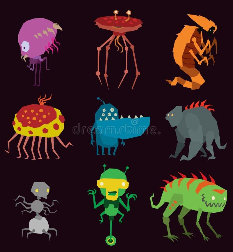 Wektorowi obcych potwory ustawiają graficzną mutant kolekcję kolorowej zabawkarskiej ślicznej obcych potworów istoty śmieszna ilu ilustracja wektor