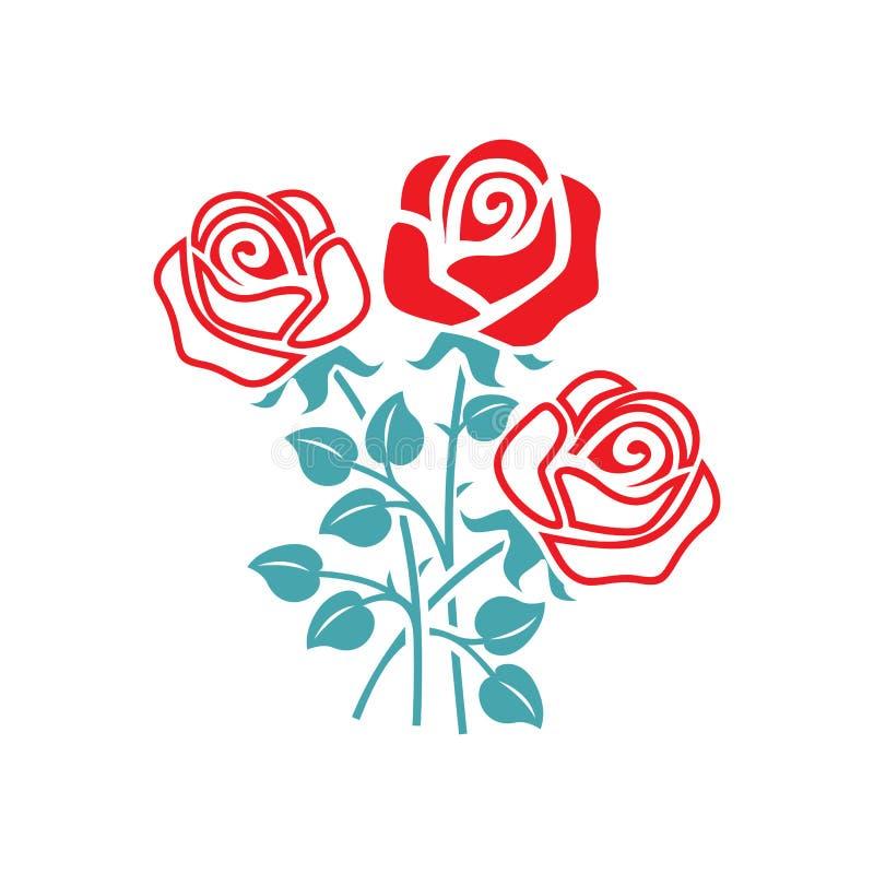 Wektorowi obrazka trzy kwiaty róża royalty ilustracja
