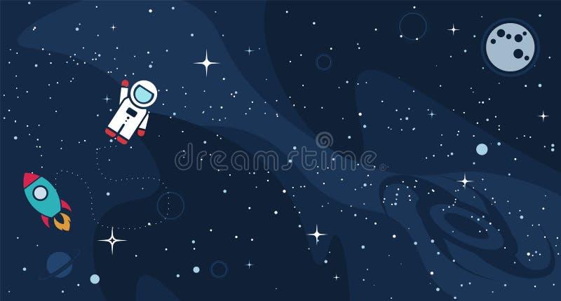 Wektorowi płascy astronautycznego projekta symbole ilustracja wektor