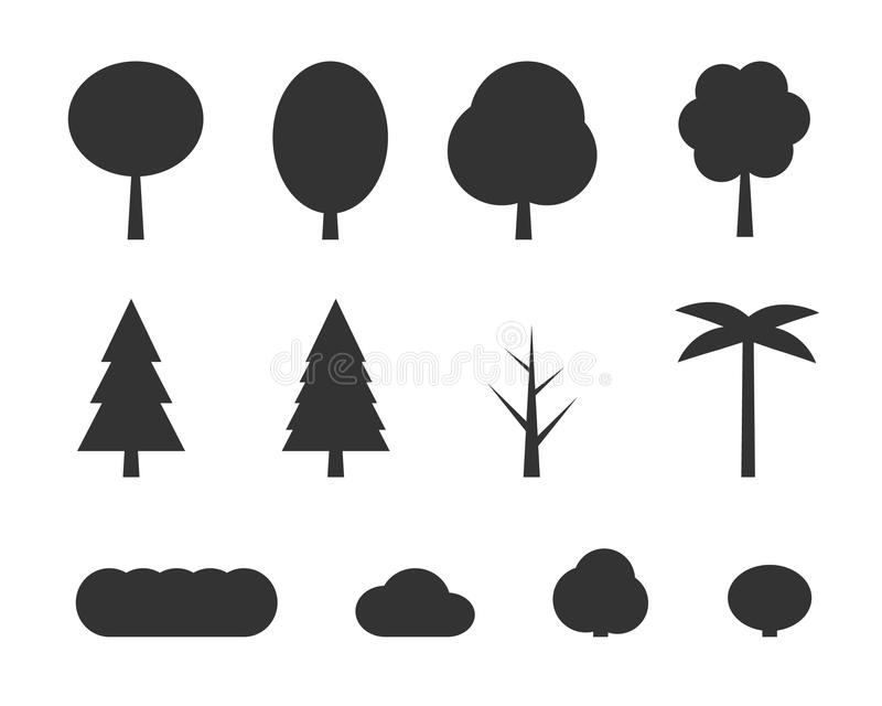 Wektorowi płascy drzewa royalty ilustracja