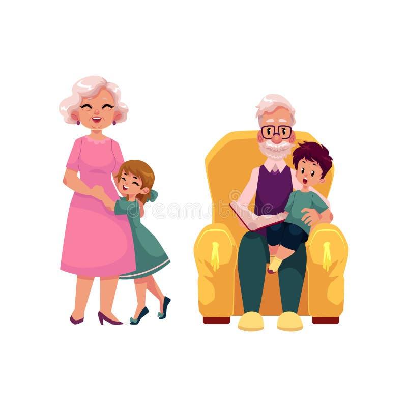 Wektorowi płascy dziadkowie i dzieci ustawiający ilustracji