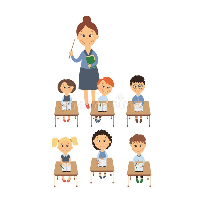 Wektorowi płascy dzieci siedzi przy biurkiem, nauczyciela set ilustracji
