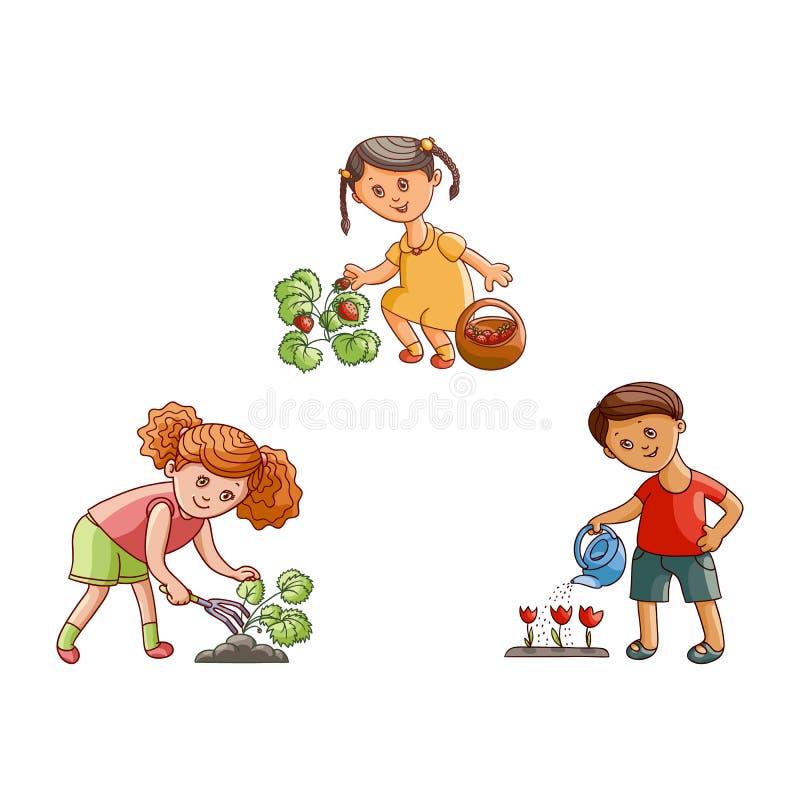 Wektorowi płascy dzieci w ogrodowych scenach ustawiają odosobnionego ilustracja wektor