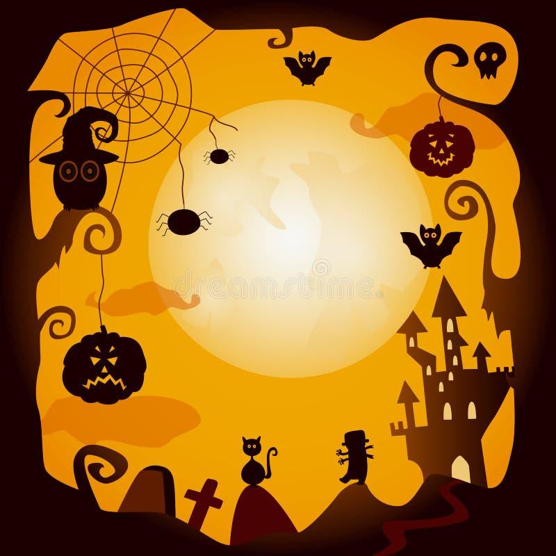 Wektorowi płascy Halloween symbole plakatowi ilustracja wektor