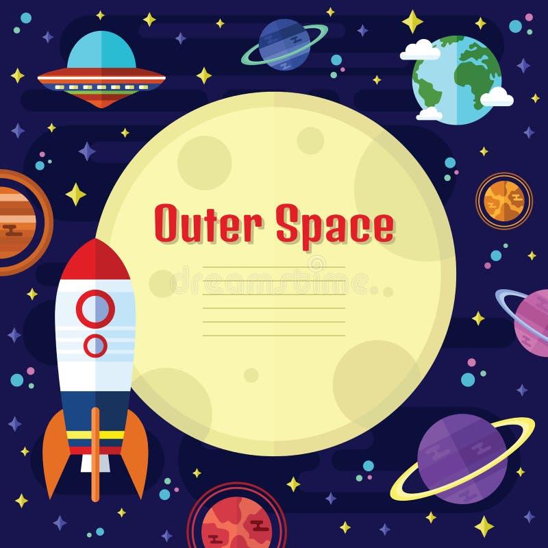 Wektorowi Płascy kosmosów elementy ilustracji