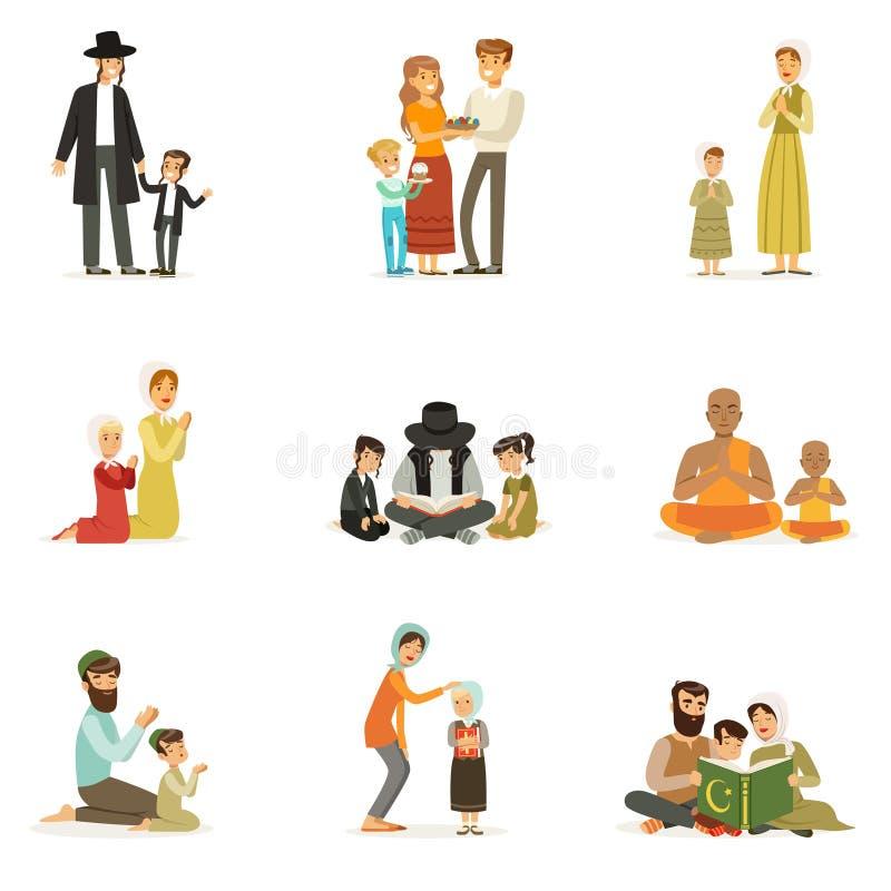Wektorowi płascy ludzie charakterów różne religie ustawiać Żyd, katolicy, muzułmanie, buddyści Rodziny w obywatelu ilustracji