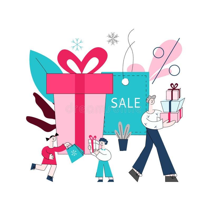 Wektorowi płascy mężczyzna dziewczyny chłopiec dzieciaki z torbami na zakupy ilustracji