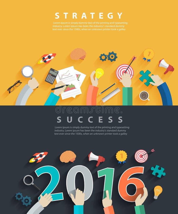 Wektorowi płascy projektów pojęcia dla biznesowej analizy 2016 i planowania ilustracja wektor