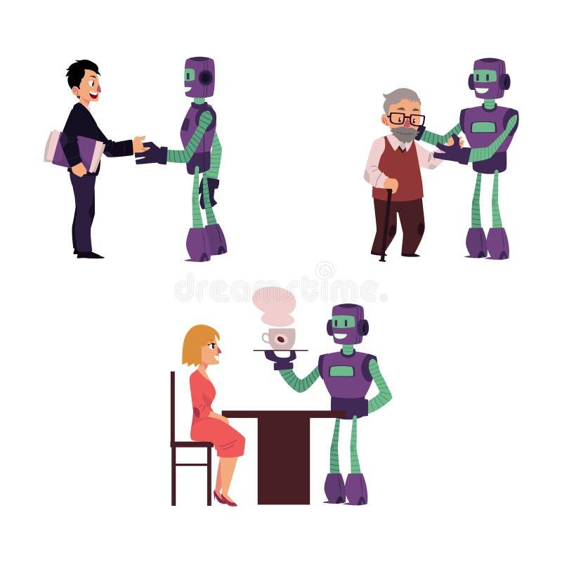 Wektorowi płascy robot interakci scen ustawiać ludzie ilustracja wektor