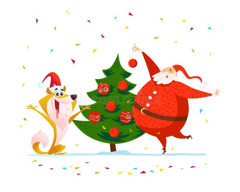 Wektorowi płascy wesoło boże narodzenia ilustracyjni z szczęśliwym Santa i psem w Santa nowego roku kapeluszowym dekoruje jedlino ilustracji