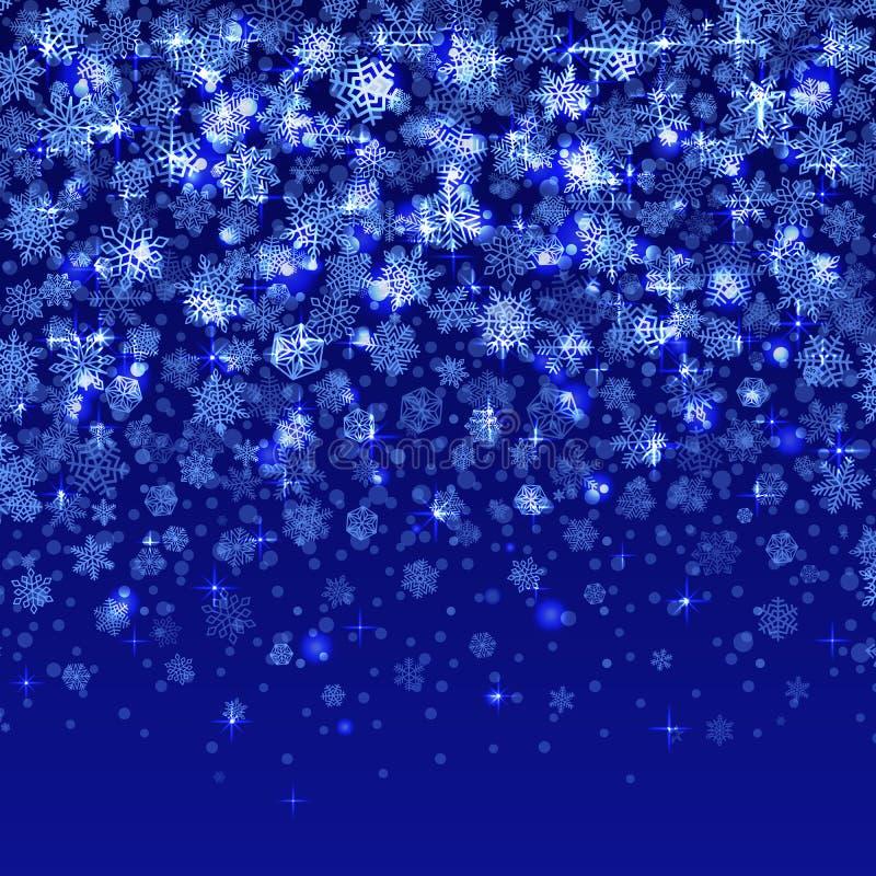 Wektorowi płatki śniegu spada na błękitnym tło gradiencie royalty ilustracja