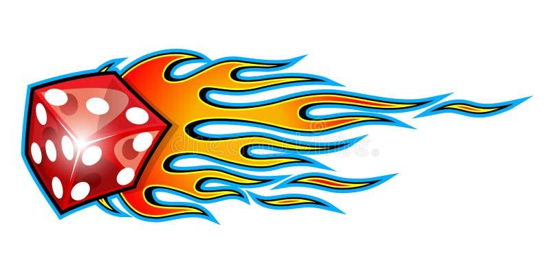 Wektorowi płonący kostka do gry z klasycznymi plemiennymi płomieniami odizolowywającymi na bielu ilustracji