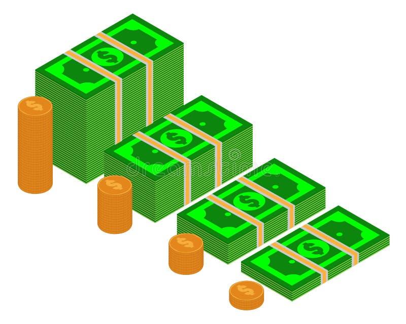 Wektorowi pakunki dolarowi banknoty w różnorodnych kątach Stos gotówkowa Isometric ilustracja z stertą złote monety royalty ilustracja