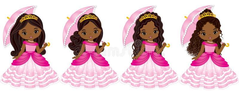 Wektorowi Piękni amerykan afrykańskiego pochodzenia Princesses z Różnorodnymi fryzurami royalty ilustracja