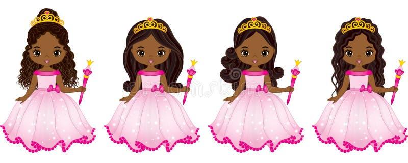 Wektorowi Piękni amerykan afrykańskiego pochodzenia Princesses z Różnorodnymi fryzurami ilustracji