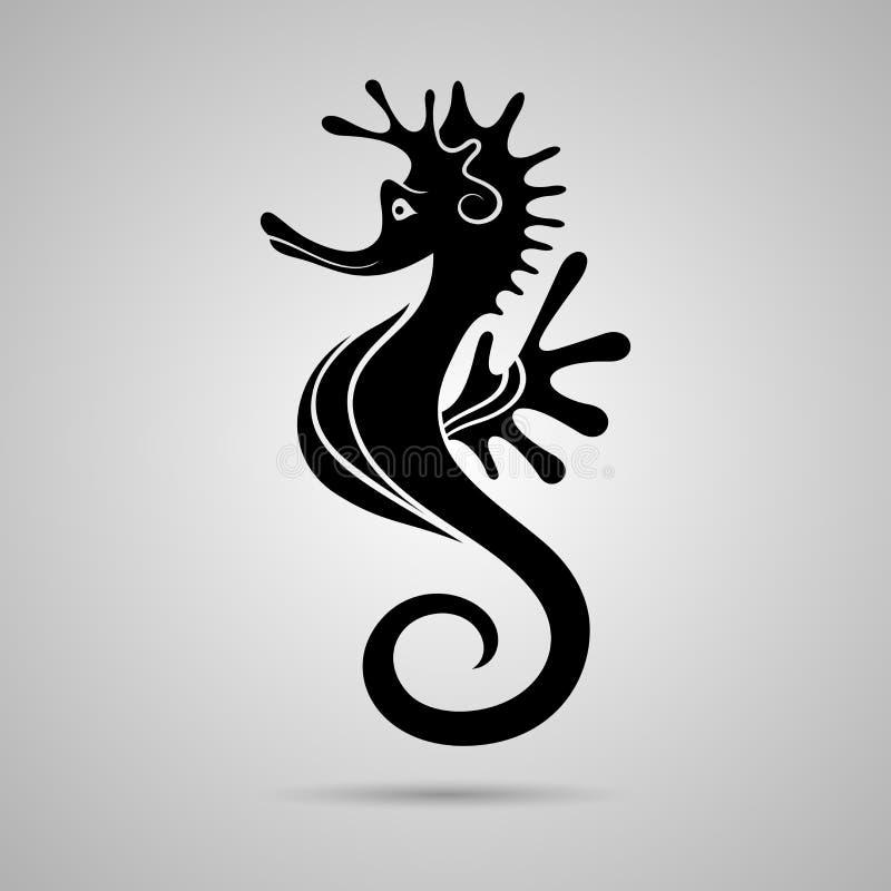 Wektorowi Piękni Czarni Seahorses royalty ilustracja