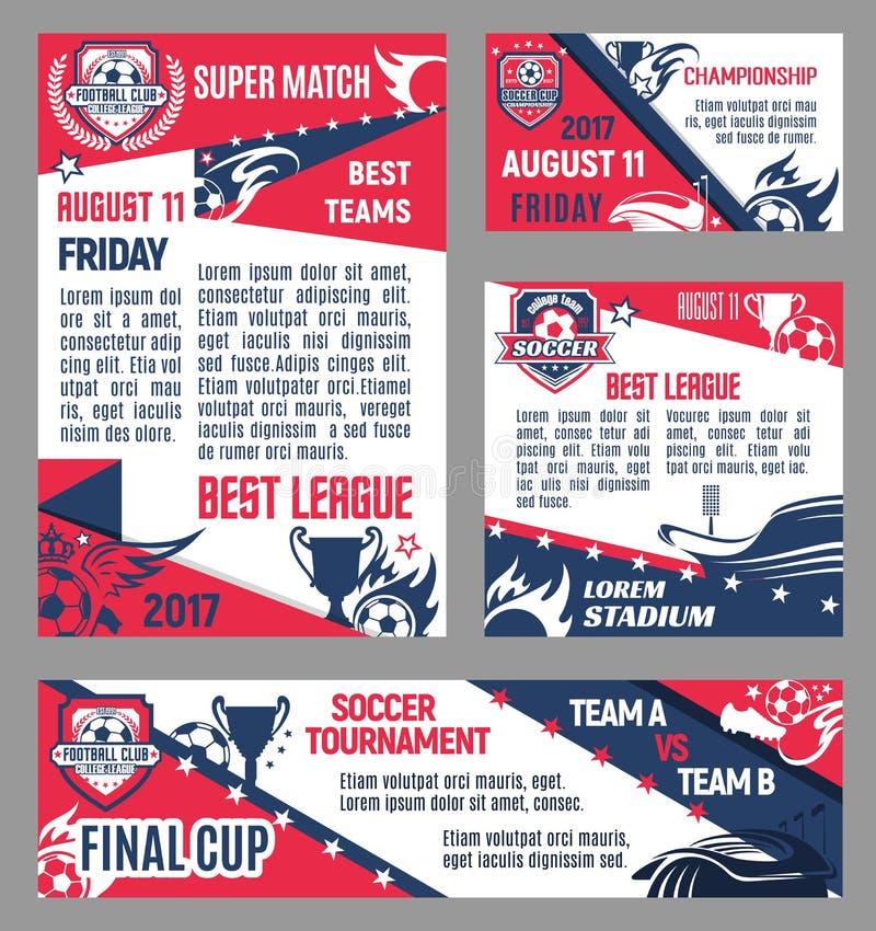 Wektorowi piłki nożnej drużyny futbolu klubu plakaty ilustracji