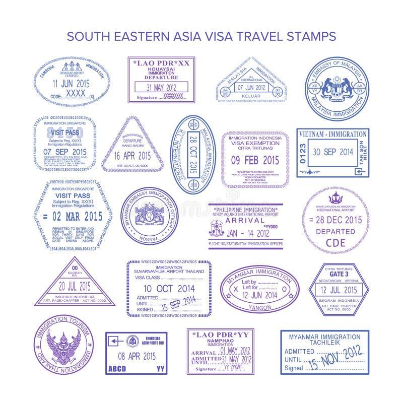 Wektorowi południowo wschodni Asia podróży wizy znaczki ustawiający ilustracji