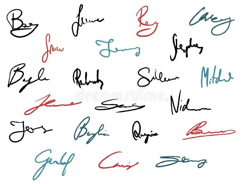 Wektorowi podpisy royalty ilustracja