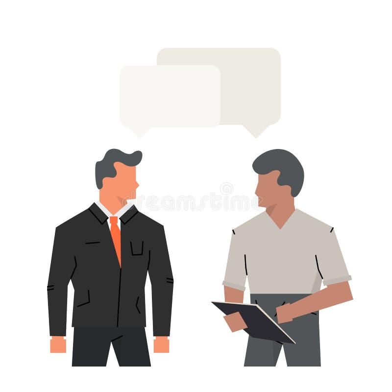 Wektorowi pojęcie wywiada kandydatem, dialog biurowi mężczyzna Akcydensowego wywiadu CEO, HR kandydat lub oficer i ilustracja wektor