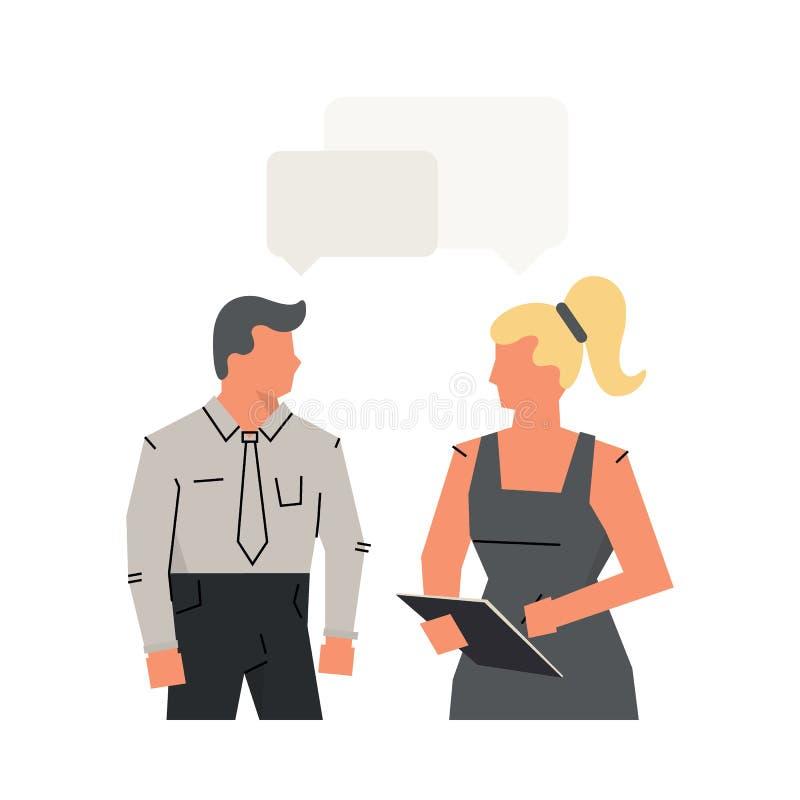 Wektorowi pojęcie wywiada kandydatem, dialog mężczyzna i kobieta, Akcydensowego wywiadu CEO, HR kandydat lub oficer i ilustracji