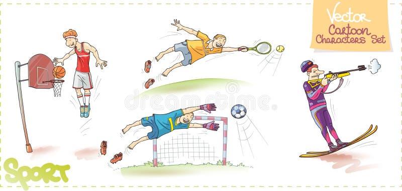 Wektorowi postać z kreskówki Ustawiający: Sport royalty ilustracja