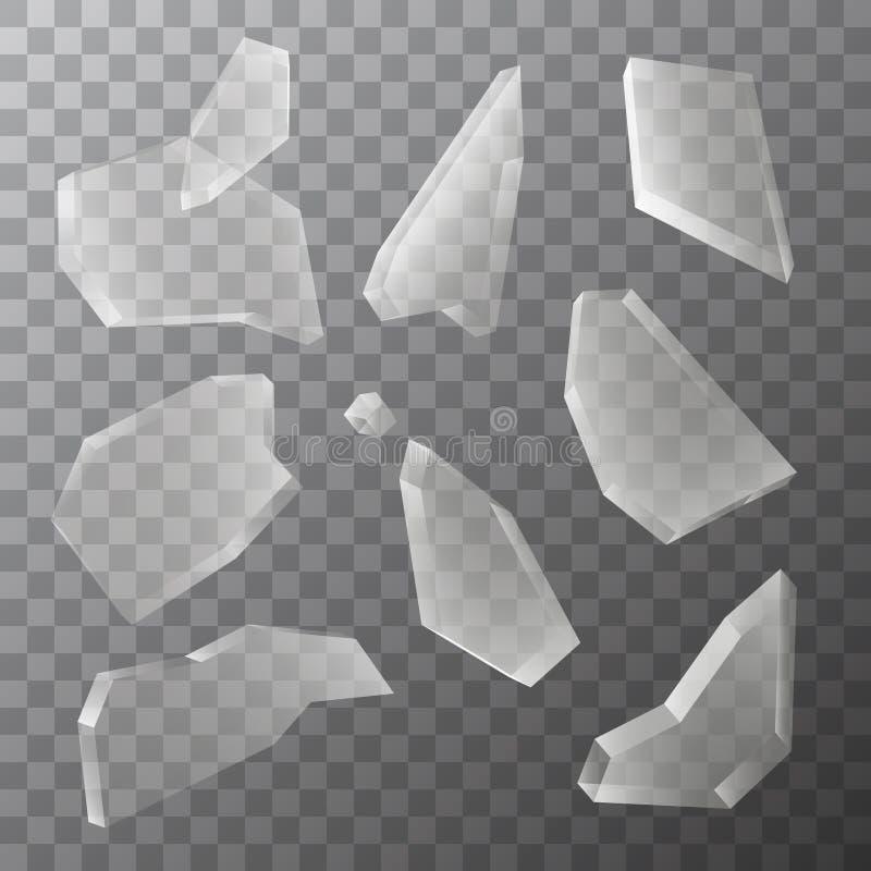Wektorowi przejrzyści kawałki odizolowywający na ciemnym tle łamany szkło ilustracja wektor